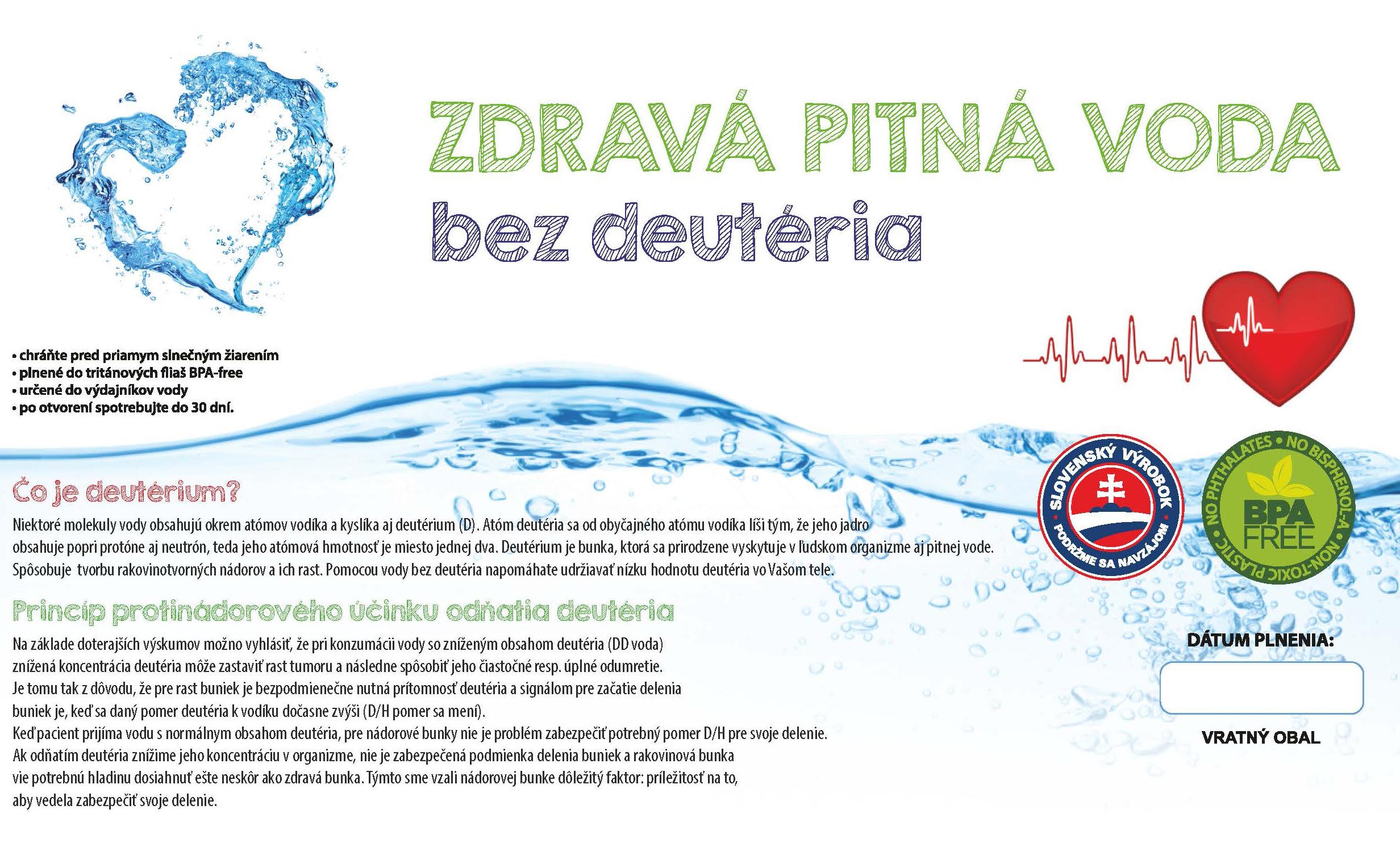 Voda BEZ DEUTÉRIA lekárska pitná voda 18,9l